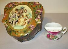 Antique Ladies Shaving Mug in Celluloid Vanity Box lovely courting couples scene