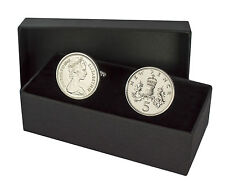 More details for 5p coins cufflinks 5 pence perfect birthday present choice fo year 1968-1989