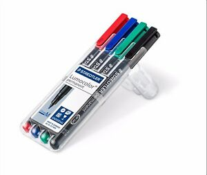 STAEDTLER PENS Lumocolor 4pc Permanent 1.0 mm Medium Tip Marker CD DVD Dry Safe