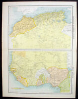 1890 Bartholomew Large Antique Map North & West Africa