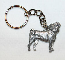 PUGGLE Dog Fine Pewter Keychain Key Chain Ring Fob