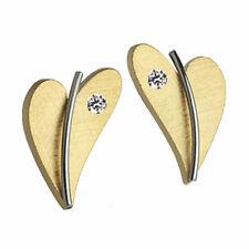 Ernstes Design Ohrstecker Herz mit Brillant E265 Edelstahl vergoldet Diamant