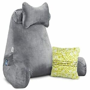 Vekkia Premium Soft Reading & Bed Rest Pillow with Higher Support Arm Pocket ...