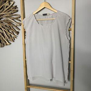 Go by Go Silk Size M 12 Light Grey 100% Silk Blouse Top Women's Designer