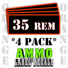 """35 REM Ammo Label Decals for Ammunition Case 3"""" x 1"""" Can stickers 4 PACK -OR"""