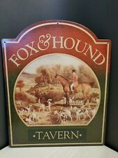2003 Metal Pub Sign Fox & Hound Tavern Hunting Dogs English Horse Landscape