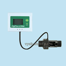 "1/2"" LCD Water Flow Sensor Meter Digital Display Rate Turbine Flowmeter COUNT UP"