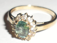 9K COLOUR CHANGE (GREEN,BLUE RED) & WHITE SAPPHIRE GOLD RING RARE CERT OF AUTH.