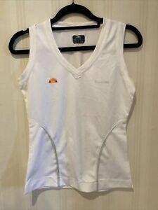 All Sizes XS Ladies ellesse Tennis LEAH Polyester Vest WHITE XXL