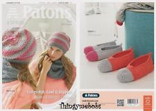 Patons Ladies Beanie Cowl Slippers Summer Cotton Knitting & Crochet Pattern 4080