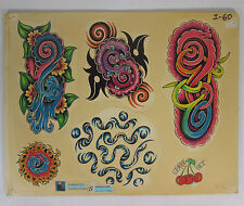 Tattoo Flash Sheet Art Nouveau Parlor Used by Colorful Al Sujohn of San Rafael
