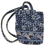 Vera Bradley Retired Discontinued Vintage Backpack Blue Maple Leaf 90s Small