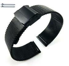 Black Steel Adjustable Mesh Bracelet Watch Band Strap Double Lock Clasp #5026
