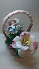 Vintage Capodimonte Ceramic Flower Basket Italian Centerpiece, Pink/Yellow