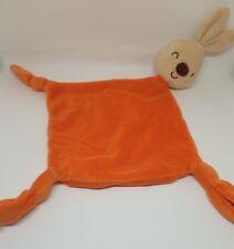 Doudou plat  losange orange noeuds lapin beige nez marron Carré Blanc NEUF