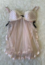 Victoria's Secret Sequin Pink White Stripe Babydoll Size 36C