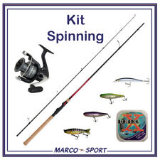 Kit canna e mulinello da pesca Shimano Spinning set esche artificiali trota mare