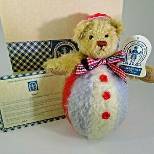 """Knickerbocker BOBO 8"""" roly poly mohair bear in box & COA w. RARE ear tag"""