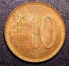 *Rare* South Korea 1970 10 Won BRONZE Var. CH AU to UNC., Toned RB Coin!