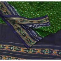 Sanskriti Vintage Green Pure Silk Saree Blue Woven Patola Sari Craft Fabric