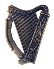 Bronze Plated Wall Plaque With Irish Harp Design 16cm X 13cm