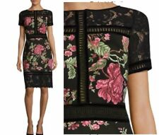 NWT Tadashi Shoji Helena Floral Lace Dress Black Size 6