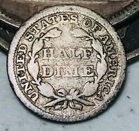 1845 Seated Liberty Half Dime 5C Ungraded Good Date Early US Silver Coin CC3596