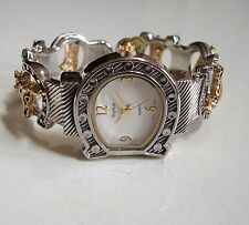 Charming Western Good Luck Silver/Gold Horse Shoe Bangle Fashion Women's Watch