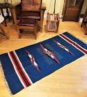 Vintage Chimayo Weaving Rug Blanket Molesworth Fabric Geometric Blue Thunderbird
