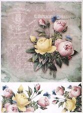 Ricepaper per Decoupage Decopatch Scrapbook Craft sheet vintage Colorful Rose