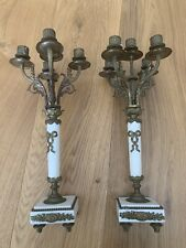 Set Of 2 Antique Bronze And Marble Candelabras