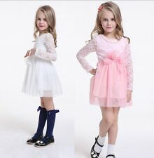 Girl Dress + Peal Necklace Vintage Lace Tulle TuTu Party Birthday Dress Size 1-7
