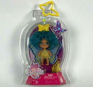 "Barbie Mariposa Clip & Go Flutterpixie Butterfly Fairy Doll Blue Yellow 2.5"" NEW"