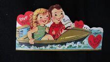 Vintage Speed Boat Valentine Card c. 1950s unused