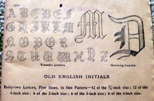 "Rare Vtg 1920s Old English Initials Transfer Pattern Initial ""W"" Motifs Uncut"