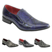 Mens Leather Lined Smart Slip on Loafers Shoes Snake Skin Print Shiny Patent