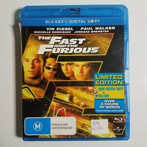 The Fast And The Furious   Blu-ray Movie   Von Diesel, Paul Walker   Car Racing