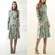 sz 36 NEW $2200 GUCCI Green FLORA KRIS KNIGHT Silk Denim Collar RUNWAY DRESS 0/2