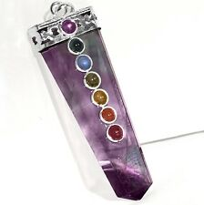 Rainbow FLUORITE Crystal 7 Chakra Silver Pendant CHARGED Necklace Reiki Healing