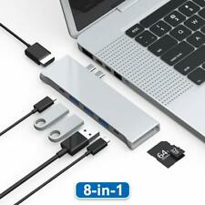 MacBook Pro Dual USB C Hub Adapter 8 in 1 Thunderbolt Dock Station with Lighting