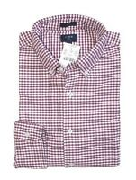 J.Crew Factory Mens S Slim Fit - Maroon Red Micro Gingham Oxford Cotton Shirt