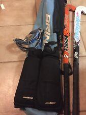 Field Hockey Bundle 2 Sticks, Blue Brine Bag Shin Pads & Eye Protection