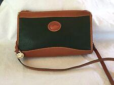 VINTAGE DOONEY & BOURKE GREEN AND BRITISH TAN SHOULDER BAG / CROSS BODY BAG