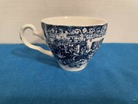 "JOHNSON BROS COACHING SCENES CUP 2.75"" High IRONSTONE BLUE, Vintage ENGLAND"