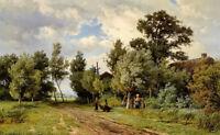 """Oil painting jan willem van borselen - the conversation figures in landscape 36"""""""