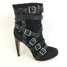 97cb63604272c3 Sam Edelman KENNY Sz 9 Black Suede   Leather Strappy Buckle Stiletto Heel  Boot