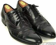 DOLCE & GABBANA Solid Black Leather Mens Wingtip Dress Shoes - UK 8 / US 9 5266