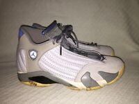 Men's 9 NIKE AIR JORDAN RETRO 14 Retro SNEAKERS 487471-004 Wolf Grey/Sport Blue