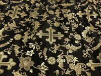 "Black Gold Cross Brocade Fabric 60"" Width Sold By The Yard"