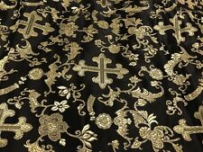 """Black Gold Cross Brocade Fabric 60"""" Width Sold By The Yard"""
